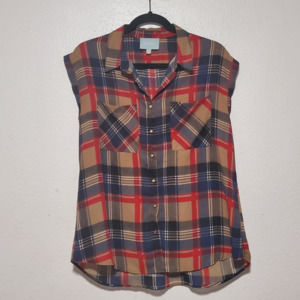 Skies are Blue plaid top chiffon pocket casual red